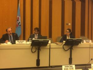 LIRNEasia research manager, Shazna Zuhyle (R) at ITU EGTI in Geneva, September 2017, where the new ICT price basket methodology recommendations were made
